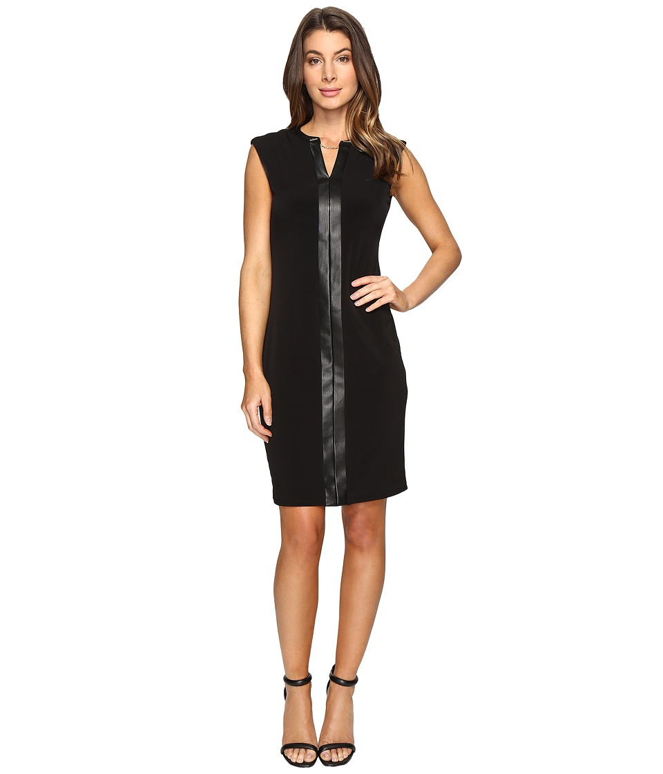 Calvin Klein - Extended Shoulder Dress with Faux Leather Chain (Black) Women's Dress