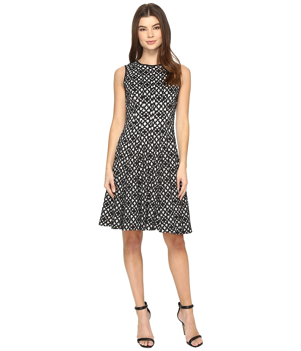 Calvin Klein Laser Cut Flare Dress (Black) Women