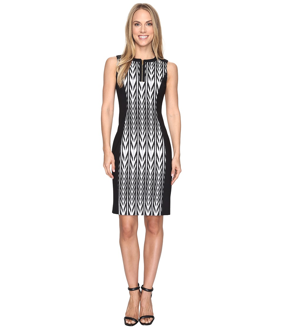 Calvin Klein - 1/2 Zip Jacquard Sheath Dress (Black Combo) Women's Dress