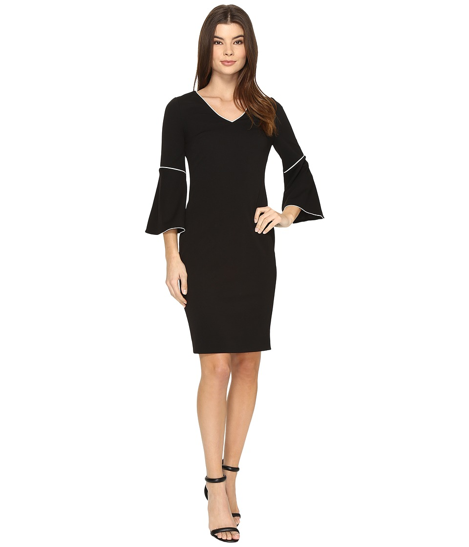 Calvin Klein - Bell Sleeve Sheath Dress (Black) Women's Dress