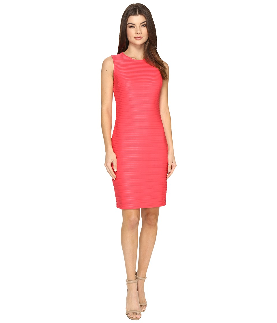Calvin Klein - Sleeveless Sheer Stripe Dress (Watermelon) Women's Dress