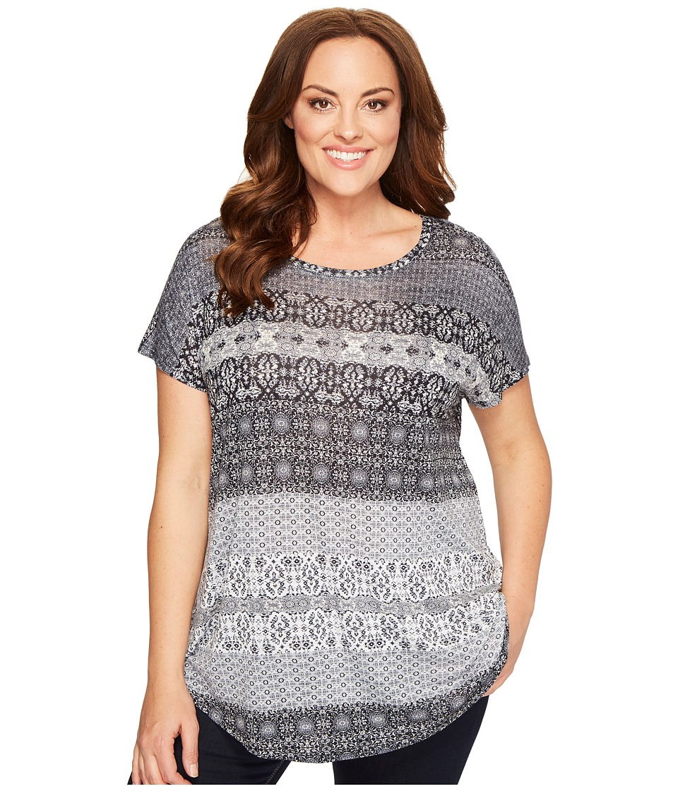 Lucky Brand - Plus Size Ditzy Floral Stripe Tee (Marshmallow) Women's T Shirt