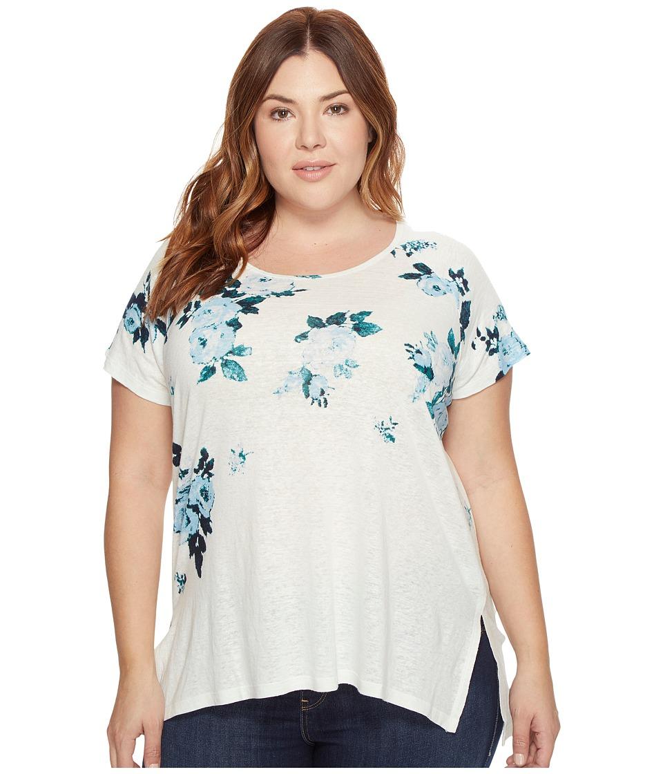 Lucky Brand Plus Size All Flower Tee (Blue Multi) Women
