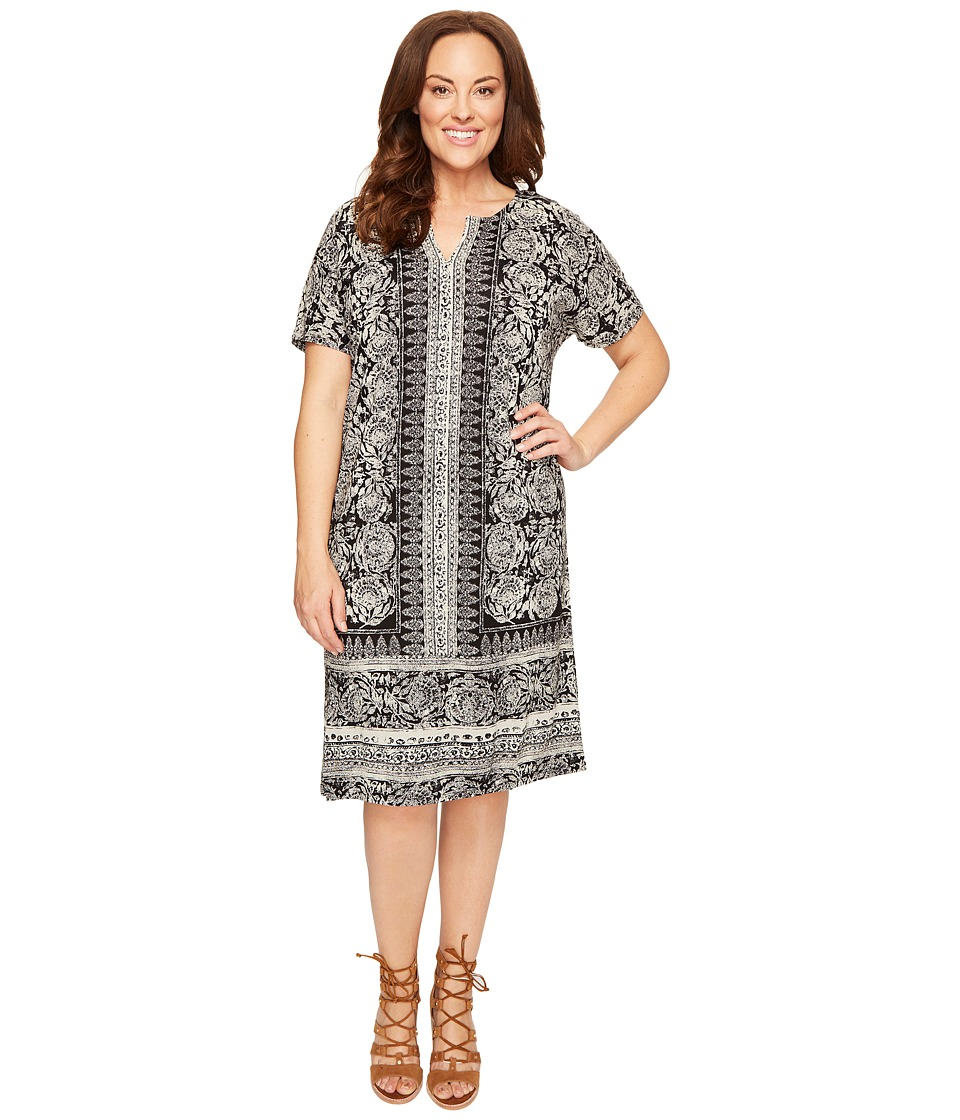 Lucky Brand - Plus Size Tee Dress (Black Multi) Women's Dress