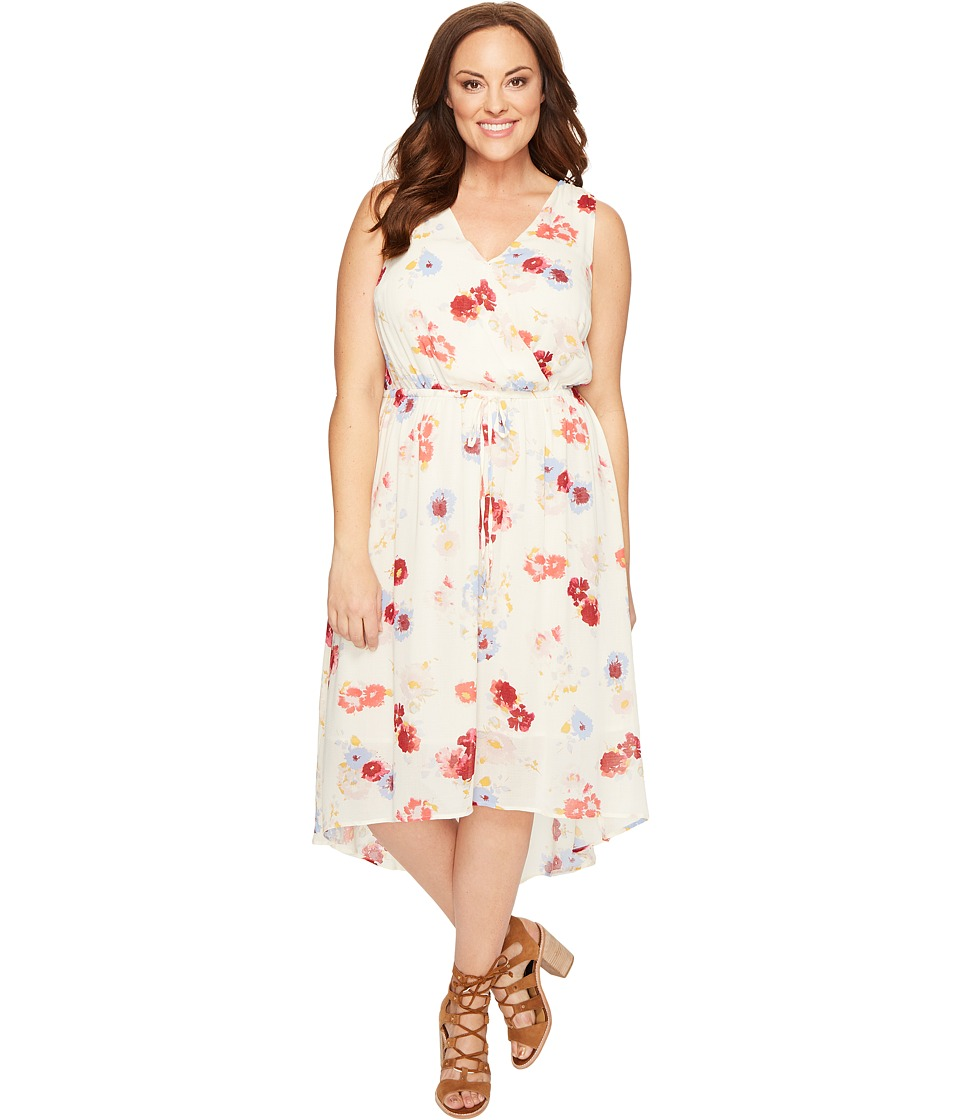 Lucky Brand - Plus Size Floral Printed Maxi Dress (Natural Multi) Women's Dress
