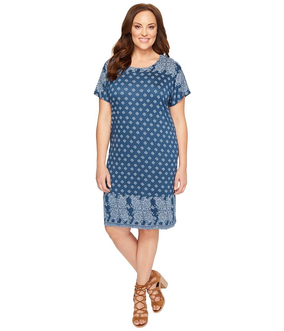 Lucky Brand - Plus Size Tee Dress (Navy Multi) Women's Dress