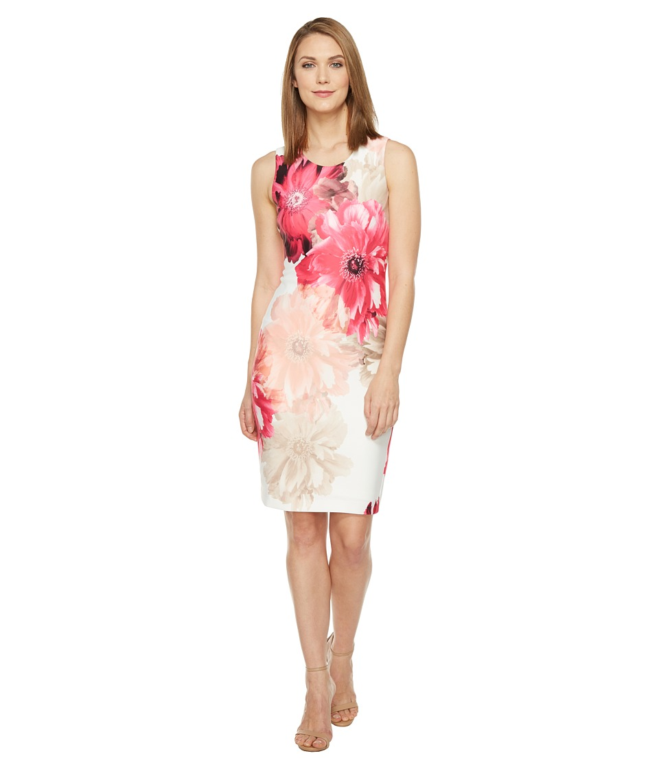 Calvin Klein - Printed Sheath Dress (Rose Multi) Women's Dress