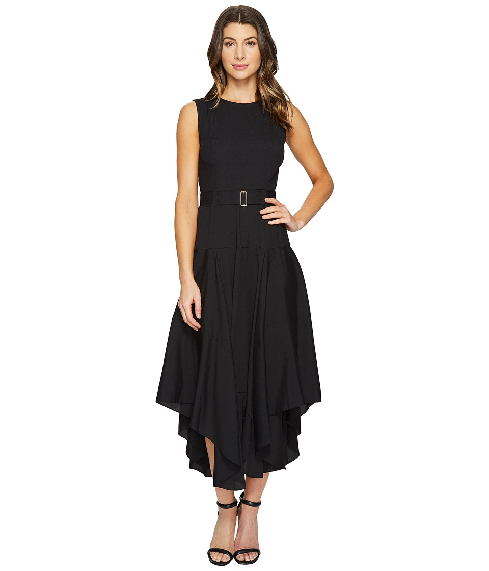 Calvin Klein - Belted Handkerchief Dress (Black) Women's Dress