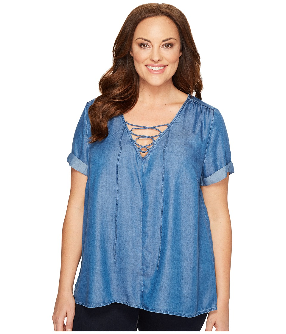 Lucky Brand - Plus Size Tencel Lace-Up Top (Medium Wash) Women's Short Sleeve Pullover
