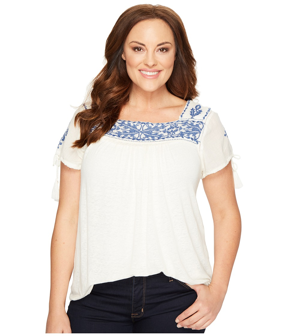 Lucky Brand - Plus Size Embroidered Top (Egg Shell) Women's Clothing