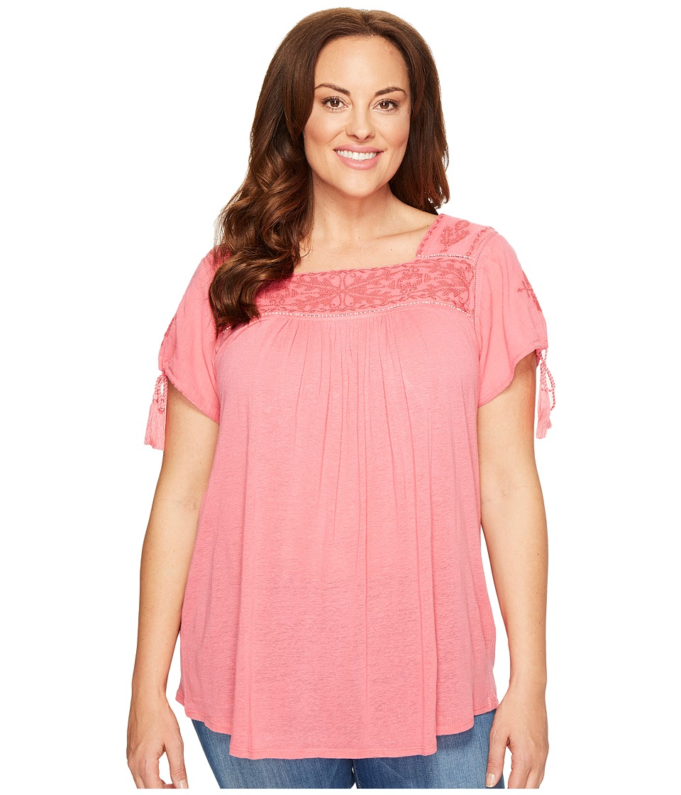 Lucky Brand - Plus Size Embroidered Top (Desert Rose) Women's Clothing