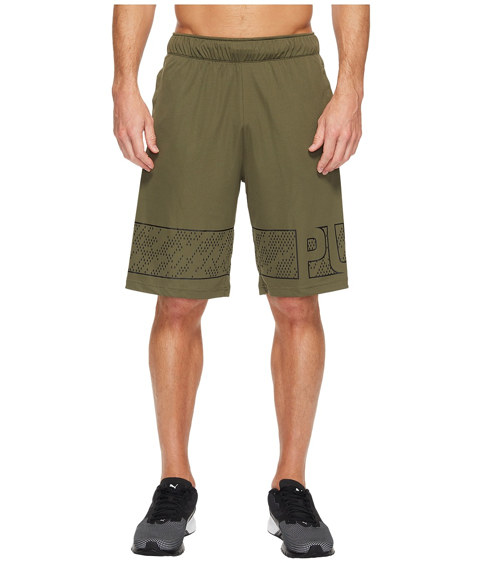PUMA - Motion Flex 10 Graphic Shorts (Olive Night) Men's Shorts