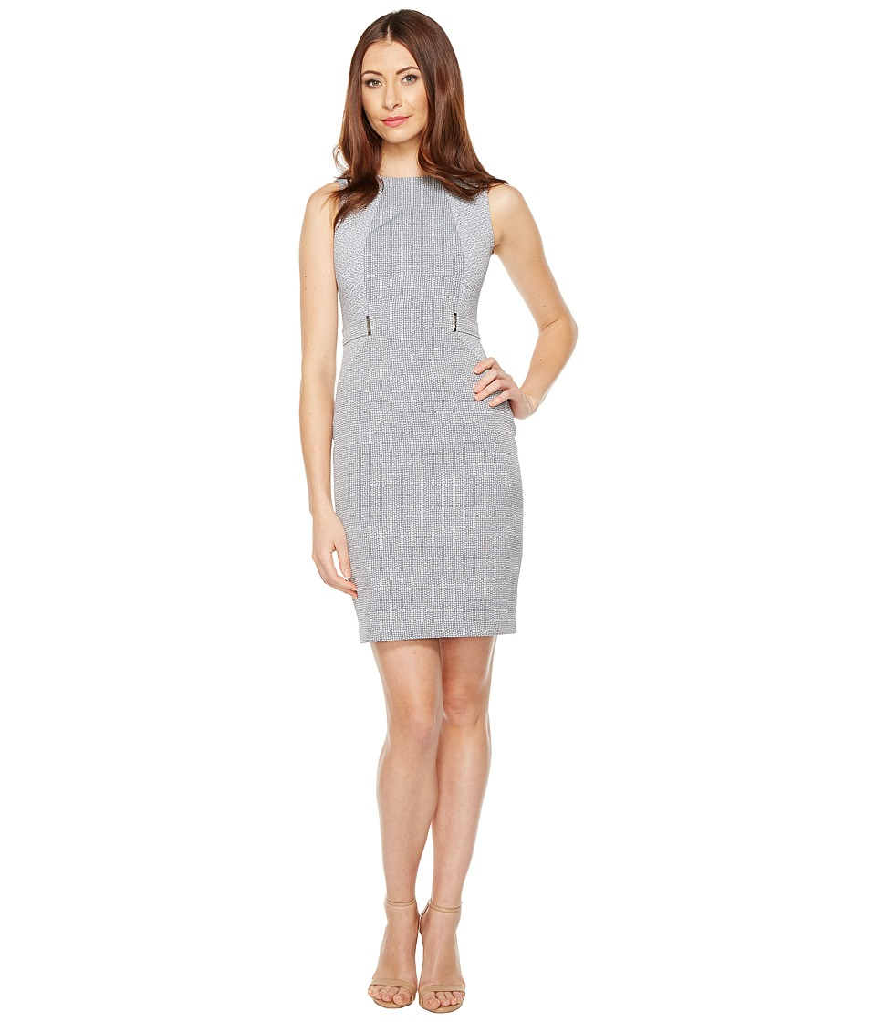 Calvin Klein Plaid Jacquard Sheath Dress (Twilight) Women