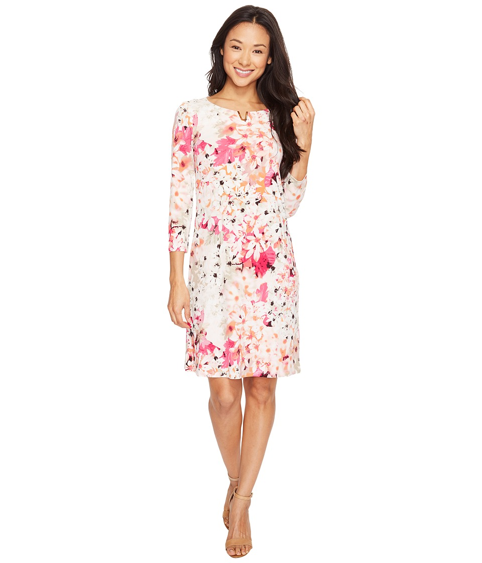 Calvin Klein - 3/4 Print Dress with U Hardware (Rose Floral Print) Women's Dress