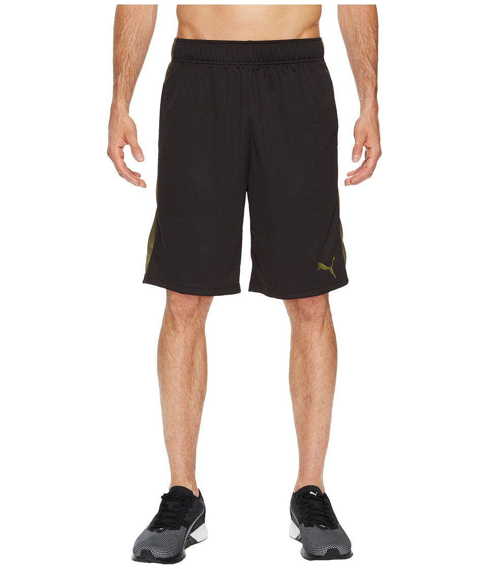 PUMA - Formstripe Mesh Shorts (Puma Black/Olive Night) Men's Shorts