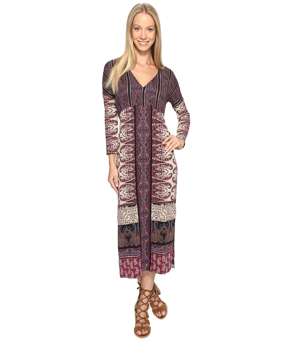 Lucky Brand - Knit Maxi Dress (Burgundy Multi) Women's Dress