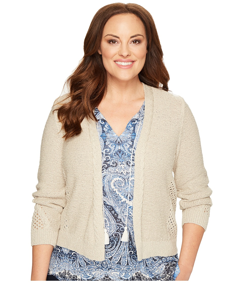 Lucky Brand - Plus Size Open Stitch Cardigan (Putty) Women's Sweater
