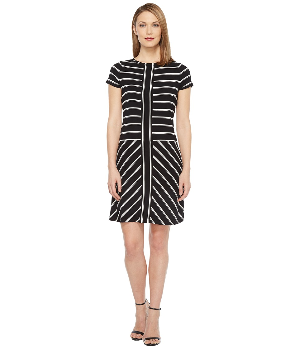 Calvin Klein - Short Sleeve Stripe T-Shirt Dress (Black/White) Women's Dress