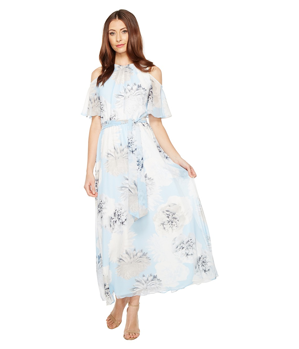 Calvin Klein Printed Maxi with Cold Shoulder Flutter Sleeve Dress