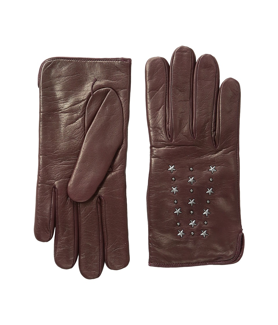 COACH - Star Studded Leather Gloves (Burgundy) Extreme Cold Weather Gloves