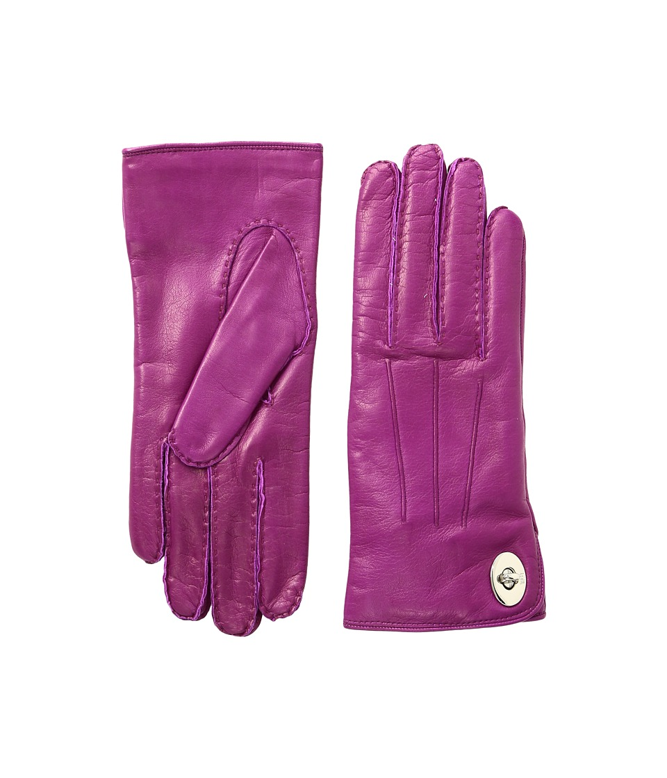 COACH - Leather Turnlock Gloves (Fuchsia) Extreme Cold Weather Gloves