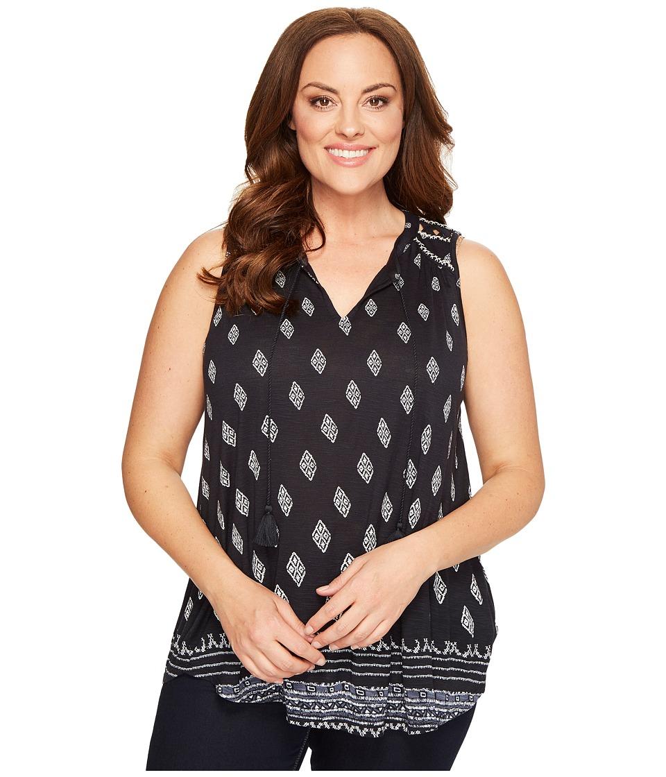 Lucky Brand - Plus Size Diamond Printed Shell (Black Multi) Women's Clothing