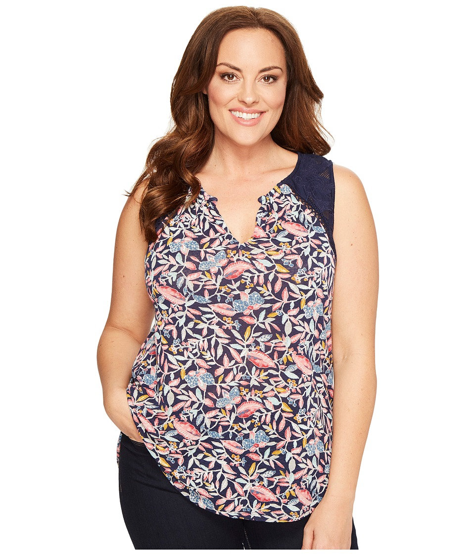 Lucky Brand - Plus Size Della Floral Shell (Navy Multi) Women's Sleeveless