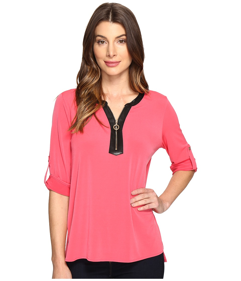 Calvin Klein - 3/4 Top with Faux Leather 1/2 Zip (Watermelon) Women's Clothing