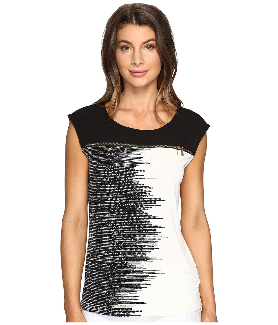 Calvin Klein - Extended Shoulder Print Top with Zip (Black Stripe) Women's Clothing