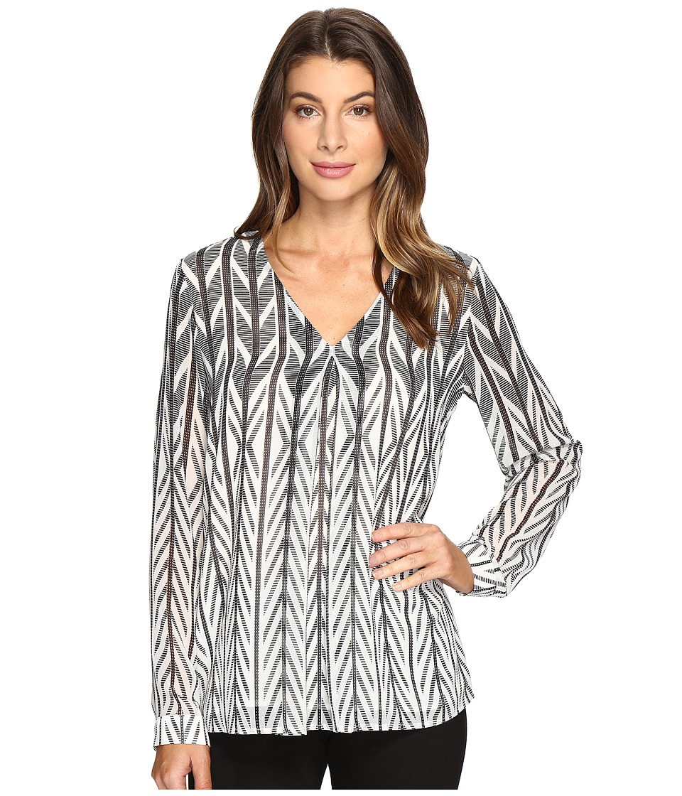 Calvin Klein - Print Long Sleeve with Invert Pleat Top (Black/White) Women's Clothing