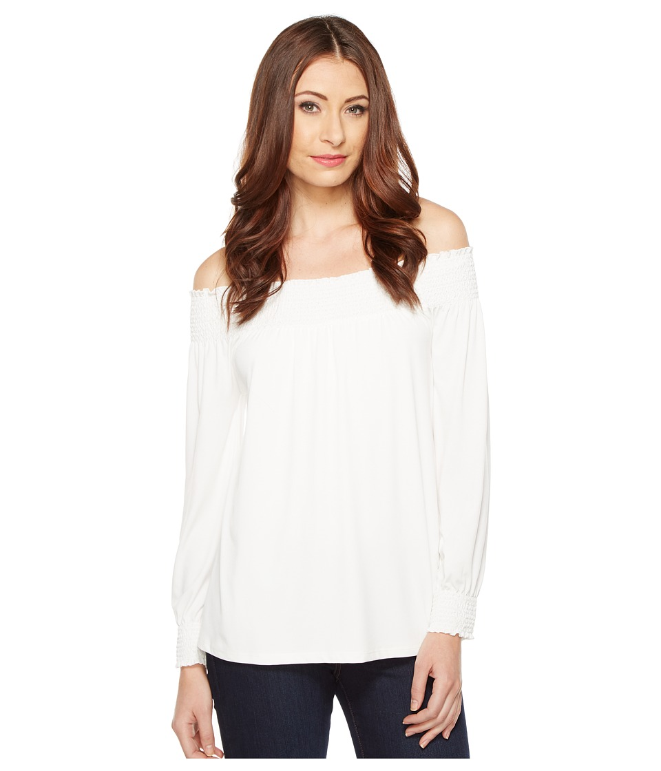 Calvin Klein - Off Shoulder Smock Top (Soft White) Women's Clothing