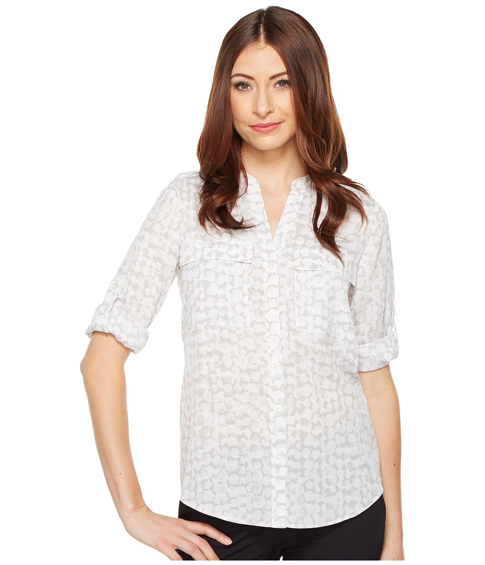 Calvin Klein - Printed Roll Sleeve (Dove Multi) Women's Clothing