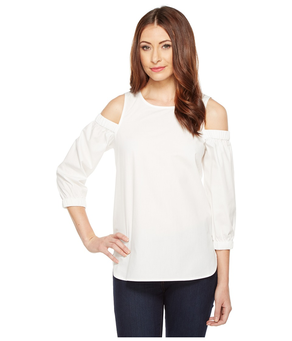 Calvin Klein - Cold Shoulder 3/4 Sleeve Top (Soft White) Women's Clothing