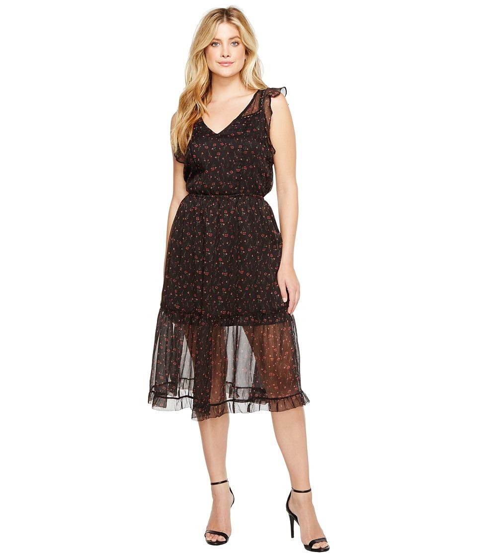 BB Dakota - Cal Floral Midi Dress (Black) Women's Dress