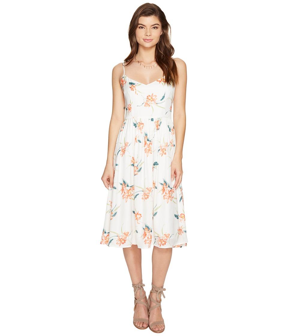 BB Dakota - Lila Printed Midi Dress (Optic White) Women's Dress