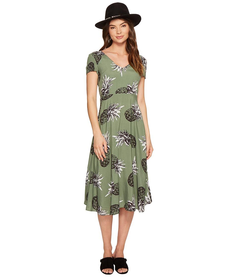 BB Dakota - Emilienne Printed Midi Dress (Sage) Women's Dress