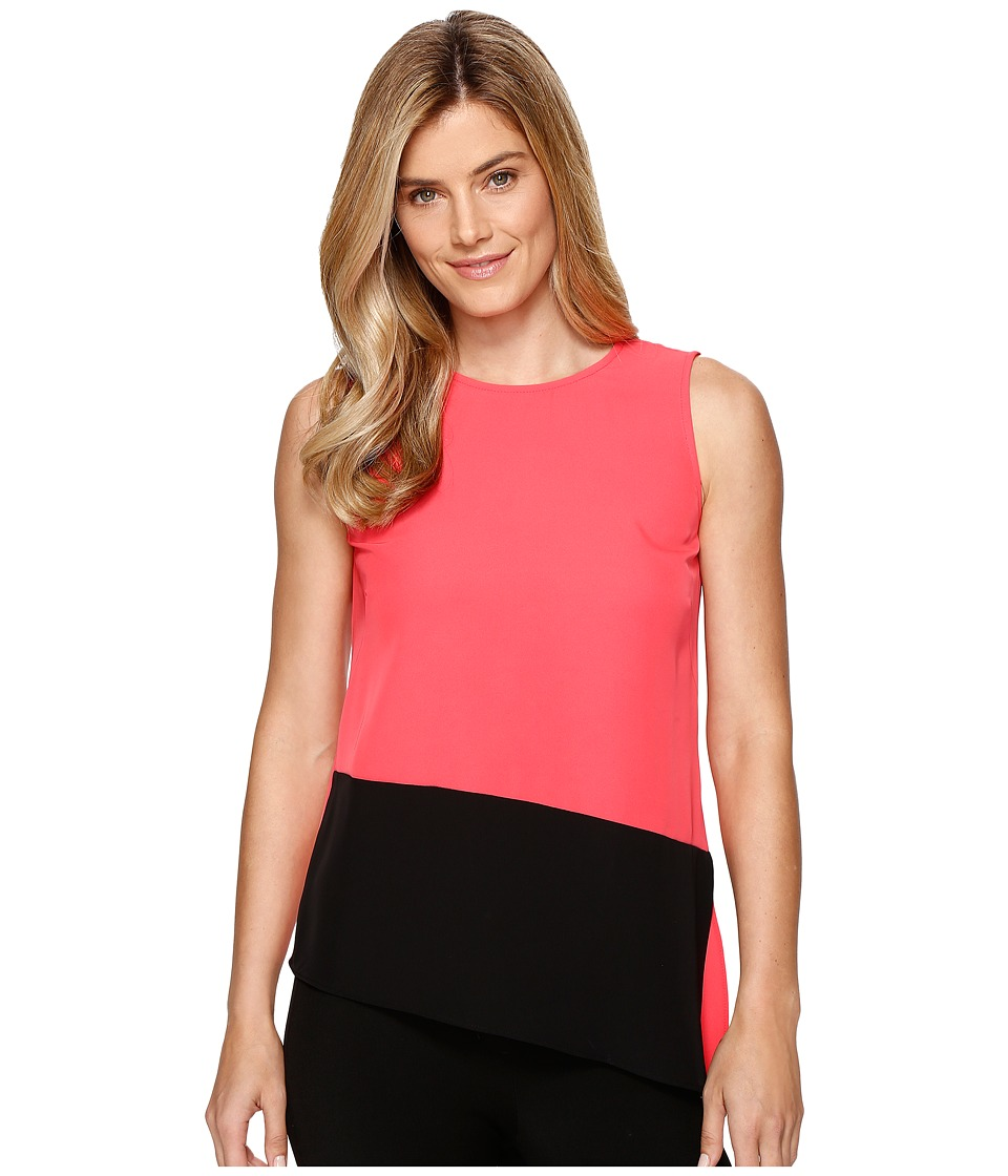 Calvin Klein - Sleeveless Top with Angle Bottom (Watermelon) Women's Sleeveless