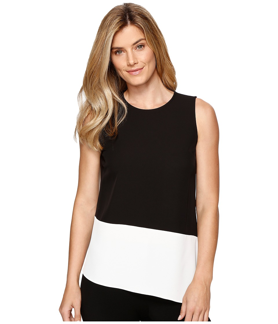 Calvin Klein - Sleeveless Top with Angle Bottom (Black) Women's Sleeveless