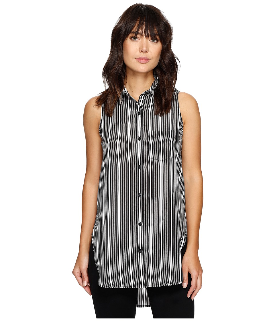 Calvin Klein - Print Hi Lo Sleeveless Top (Stripe Print Black) Women's Sleeveless
