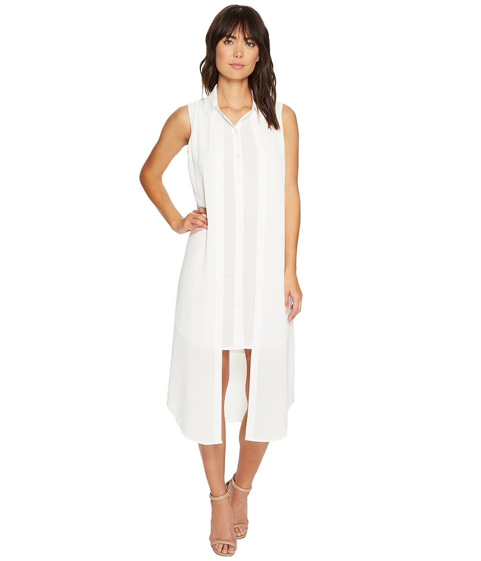 Calvin Klein - Sleeveless Long Texture Double Layer Blouse (Soft White) Women's Sleeveless
