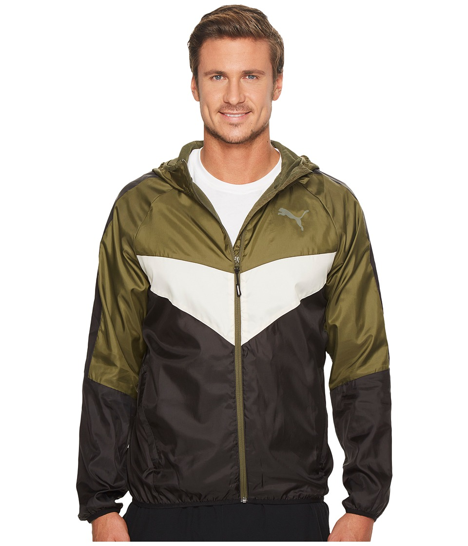 PUMA - Power Vent Windbreaker (Olive Night) Men's Clothing
