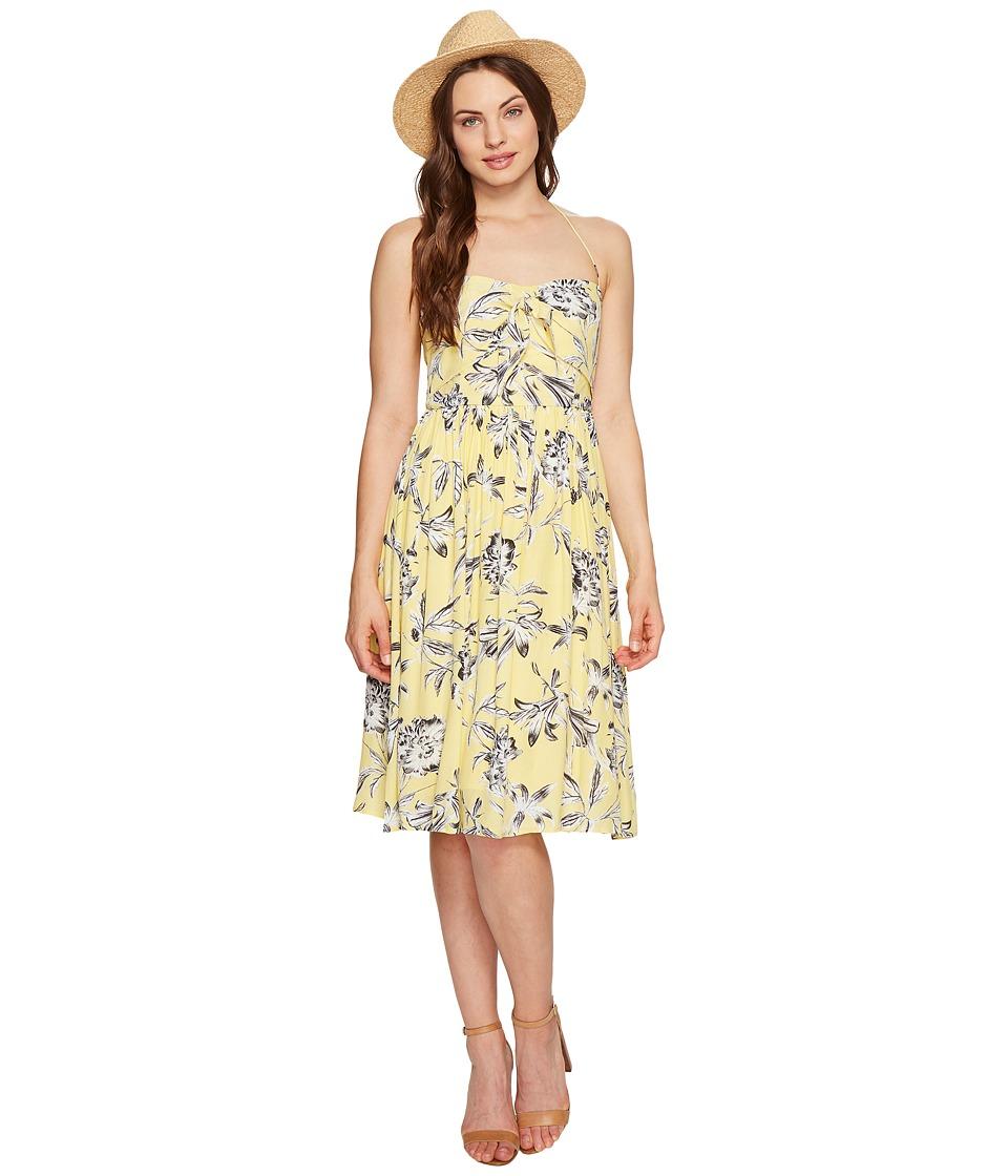 BB Dakota - Joss Printed Front Tie Dress (Yellow) Women's Dress