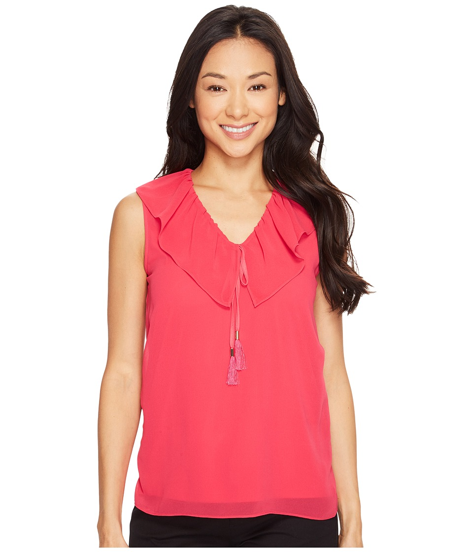 Calvin Klein - Sleeveless V-Neck Ruffle Collar Top (Spring Rose) Women's Sleeveless
