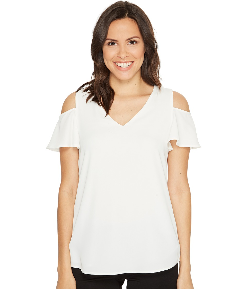 Calvin Klein - V-Neck Cold Shoulder Flutter Blouse (Soft White) Women's Blouse