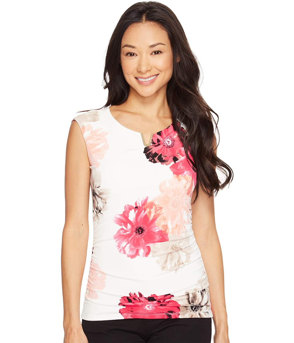 Calvin Klein - Printed Extended Shoulder Top with Hardware (Rose Combo) Women's Clothing