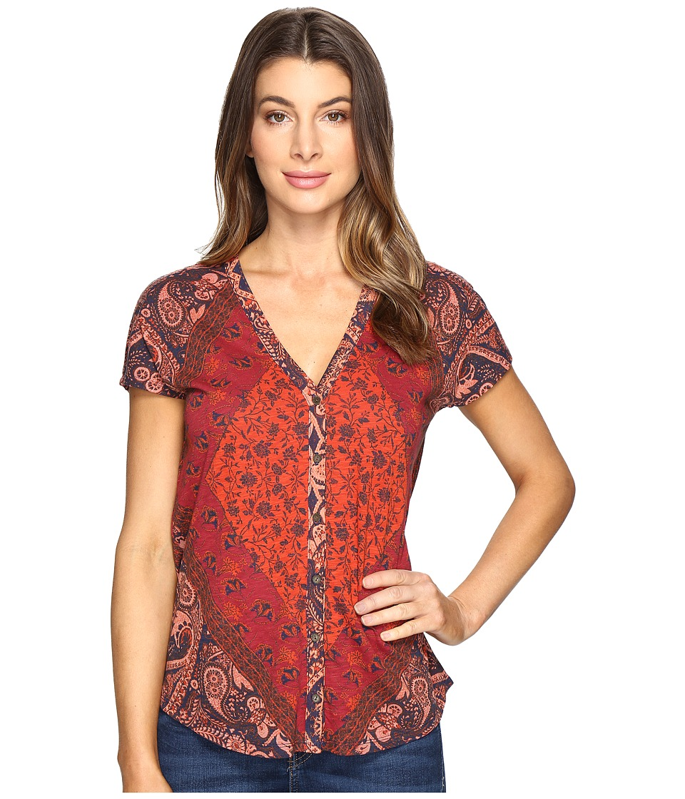 Lucky Brand - Printed Button Front Tee (Multi) Women's T Shirt