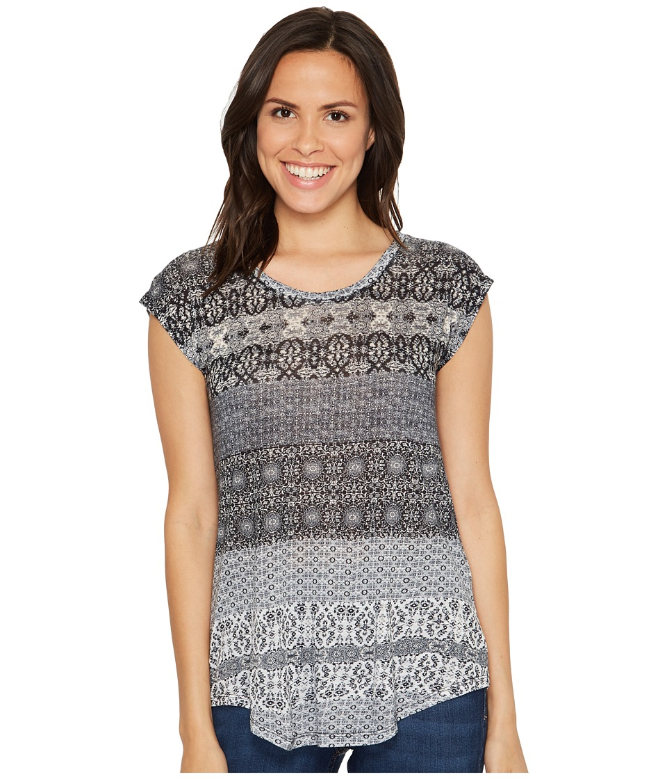 Lucky Brand - Ditzy Floral Stripe Tee (Marshmallow) Women's T Shirt