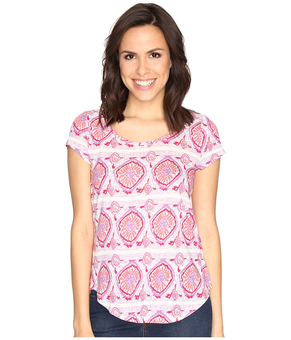 Lucky Brand Geo Striped Tee (Coral Multi) Women