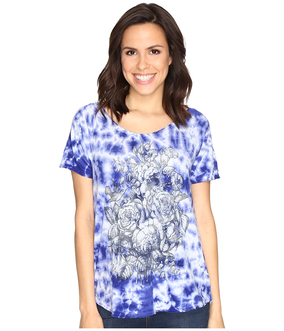 Lucky Brand - Floral Washed Tee (Royal Blue) Women's T Shirt