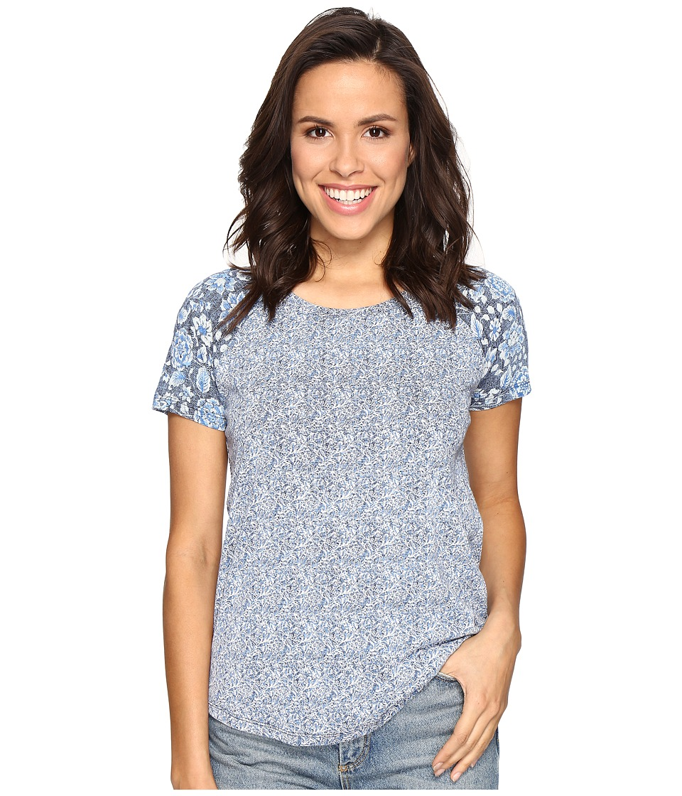 Lucky Brand - Floral Mixed Tee (Blue Multi) Women's T Shirt